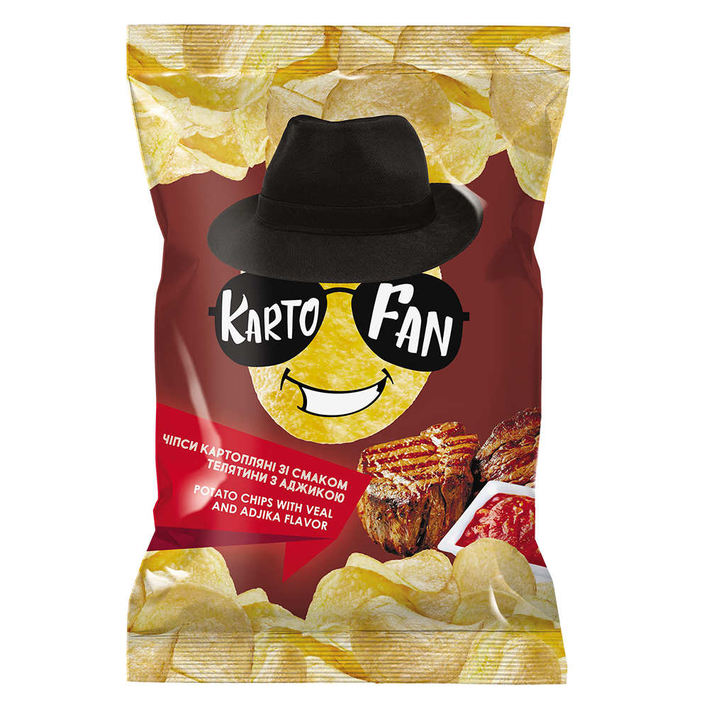 Potato chips with veal and adjika flavor