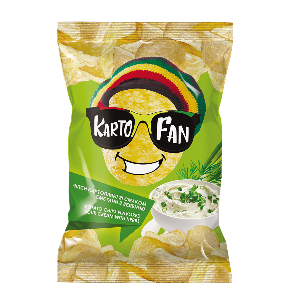 Potato chips flavored sour cream with herbs