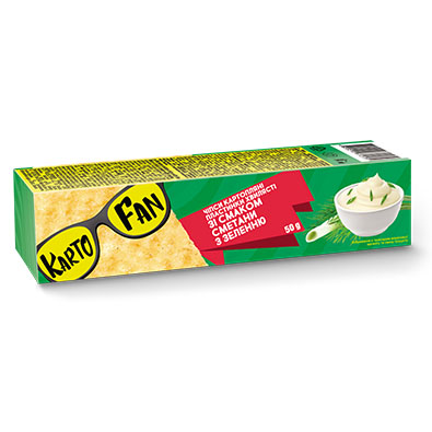 Flat wavy potato chips with the flavor of sour cream with herbs